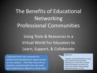 The Benefits of Educational Networking Professional Communities