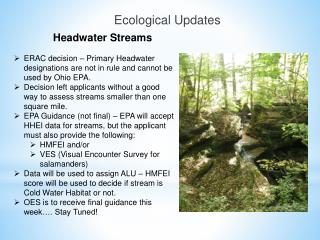 Ecological Updates