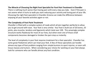 the miracle of choosing the right foot specialist for foot p