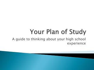 Your Plan of Study