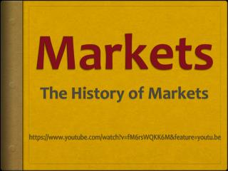 Markets The History of Markets
