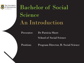 Bachelor of Social Science An Introduction