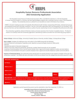 Hospitality Human Resource Professionals Association 2013  Scholarship Application