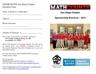 San Diego Chapter Sponsorship Brochure –  2013
