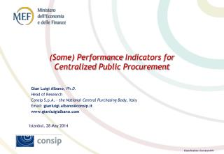 (Some) Performance  Indicators  for  Centralized  Public Procurement