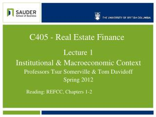C405  - Real Estate  Finance