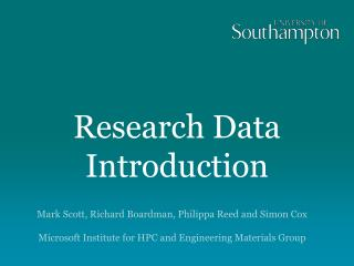 Research Data Introduction
