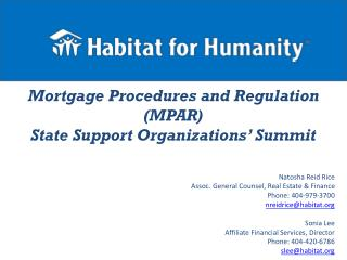 Mortgage Procedures and Regulation (MPAR) State Support Organizations' Summit