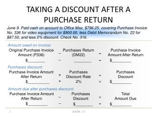TAKING A DISCOUNT AFTER A PURCHASE RETURN