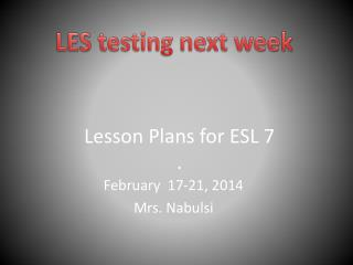 Lesson Plans for ESL 7 .