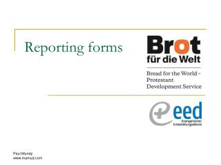 Reporting forms