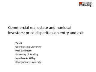 Commercial real estate and nonlocal investors: price disparities on entry and exit