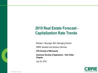 2010 Real Estate Forecast  -  Capitalization Rate Trends