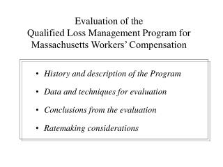 evaluation of the qualified loss management program for ...