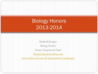 Biology Honors  2013-2014