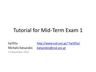 Tutorial for Mid-Term Exam 1