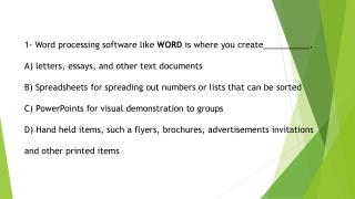 4- Desktop publishing software like Publisher is where you create __________. A)  letters, essays, and other text docum