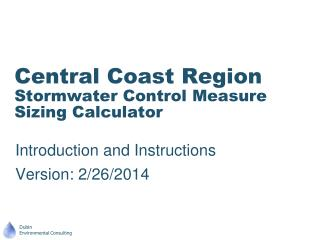 Central Coast Region Stormwater Control Measure Sizing Calculator