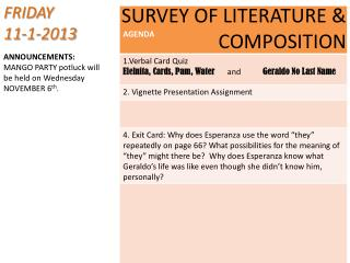 SURVEY OF LITERATURE & COMPOSITION