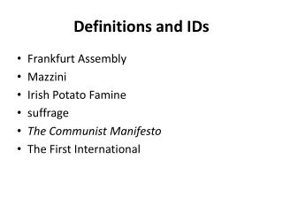Definitions and IDs