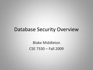Database Security Overview