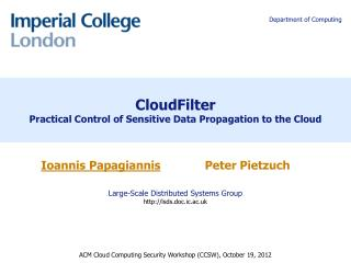 CloudFilter Practical Control of Sensitive Data Propagation to the Cloud