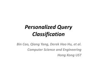 Personalized Query Classification