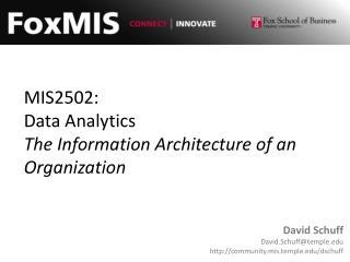 MIS2502: Data Analytics The Information Architecture of an Organization