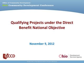 Qualifying Projects under the Direct Benefit National Objective