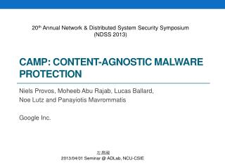CAMP: Content-Agnostic Malware Protection