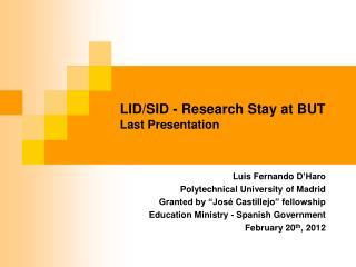 LID/SID - Research Stay at BUT Last Presentation