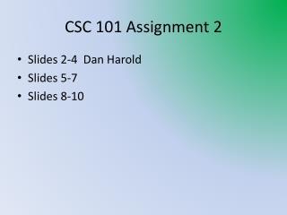 CSC 101 Assignment 2
