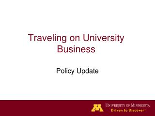 Traveling on University Business