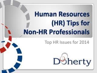 Human Resources (HR)  Tips for  Non-HR Professionals