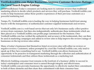 verifiedcredible.com helps businesses improve customer revie