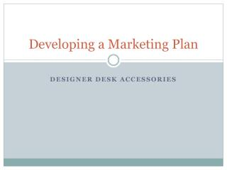 Developing a Marketing Plan