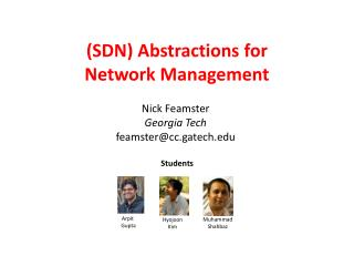 (SDN) Abstractions for  Network Management