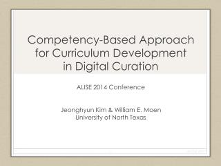 Competency-Based Approach for Curriculum Development  in  Digital Curation