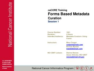 caCORE Training Forms Based Metadata  Curation Session 1