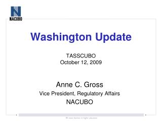 Washington Update TASSCUBO October 12, 2009