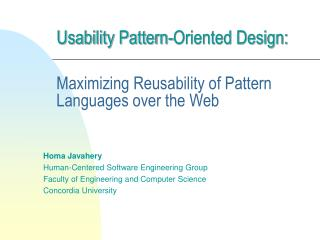 usability pattern-oriented design: maxim