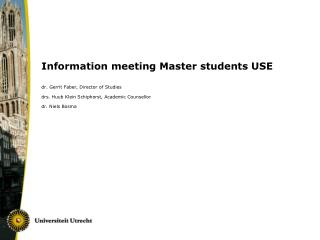 Information meeting Master students USE