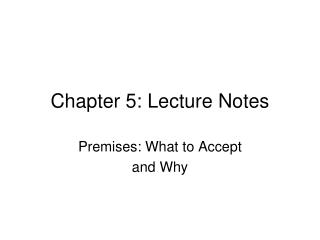 Chapter  5: Lecture Notes