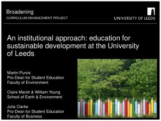 An institutional approach: education for sustainable development at the University of Leeds