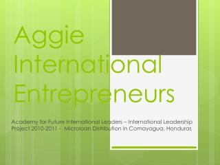 Aggie International Entrepreneurs