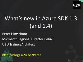 What�s new in Azure SDK 1.3 (and 1.4)