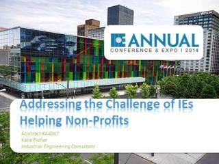 Addressing the Challenge of IEs Helping Non-Profits