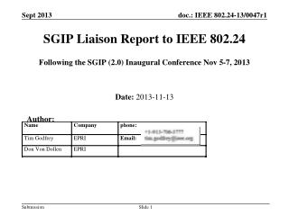 SGIP Liaison Report to IEEE 802.24