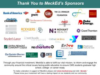 Thank You to MeckEd's Sponsors