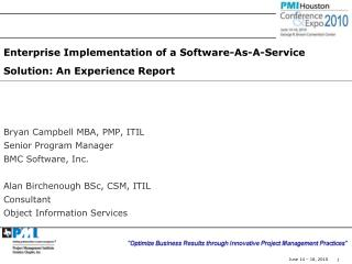 Enterprise Implementation of a Software-As-A-Service Solution: An Experience Report
